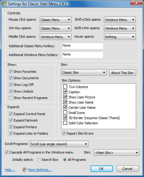Settings Screen (Courtesy of Classic Shell)