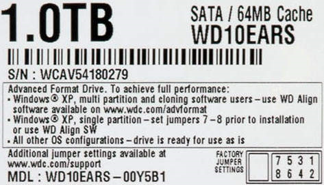 Western Digital Advanced Format Hard Drive Label