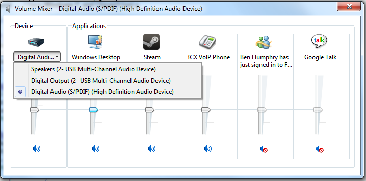 Windows 7 Volume Mixer (Sound Device Selection)