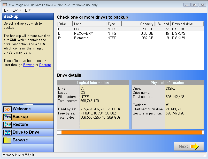 DriveImage XML - Backup Wizard