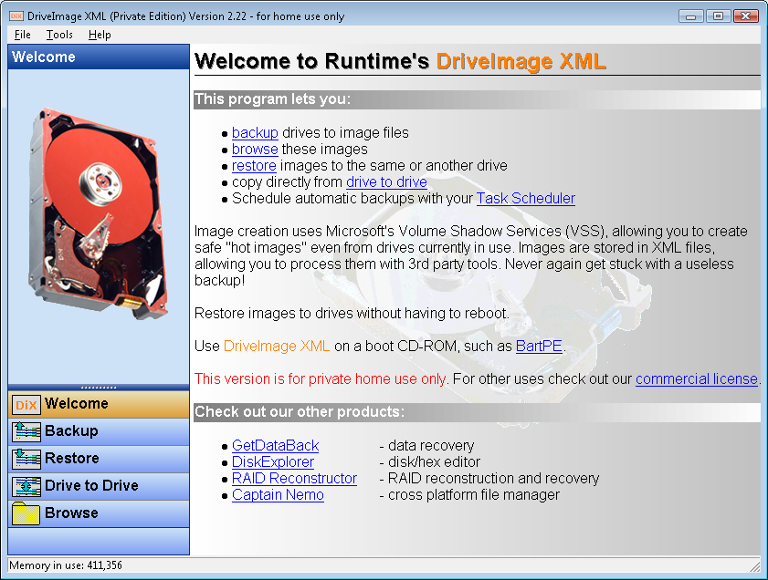 DriveImage XML - Home Screen