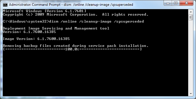 Removing backup files created during service pack installation