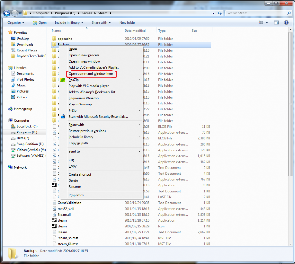 Windows 7 - Open a command prompt from Windows Explorer
