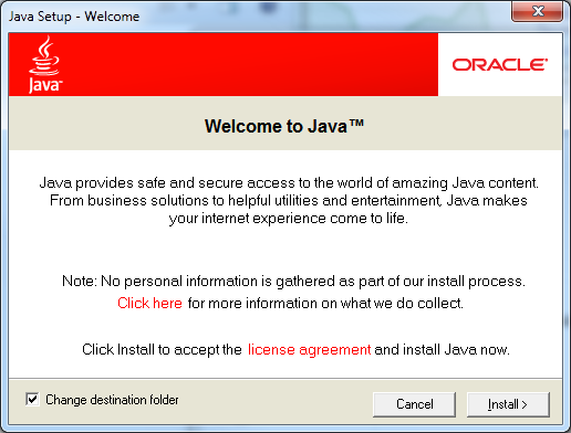 Java Setup - Welcome Screen