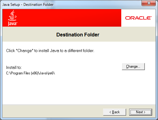 Java Setup - Destination Folder Screen