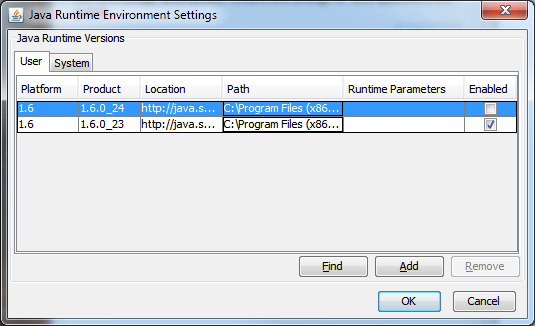Java Runtime Environment Settings (Updated Settings)