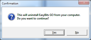EasyBits GO Uninstallation - Step 1