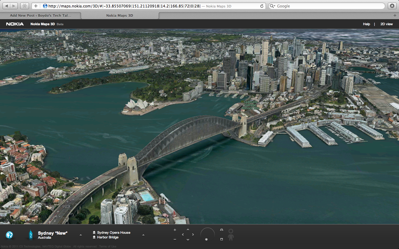 Nokia maps 3d better than google maps boydos tech talk nokia maps 3d sydney harbour bridge gumiabroncs Image collections