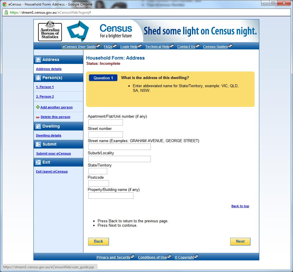 eCensus Form Setup (Address Information)