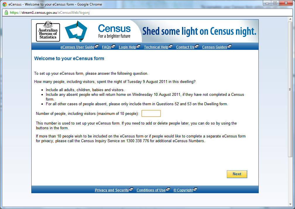 eCensus Form Setup (Number of People)