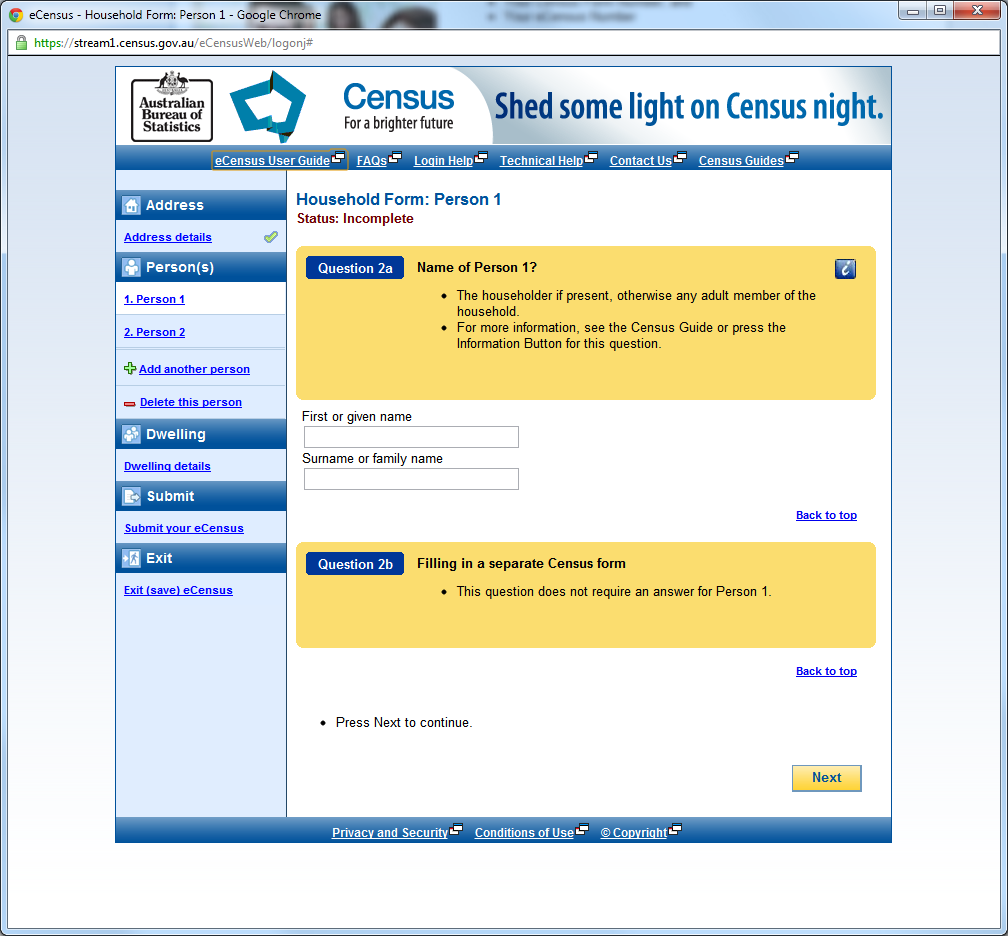 eCensus Form Setup (Personal Information)
