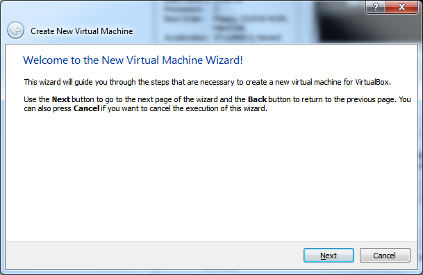 Create New Virtual Machine - Step 1