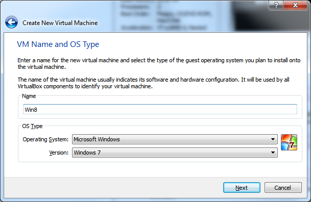 Create New Virtual Machine - Step 2 (VM Name and OS Type)