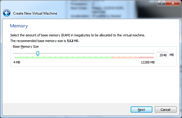 Create New Virtual Machine - Step 3 (Memory)