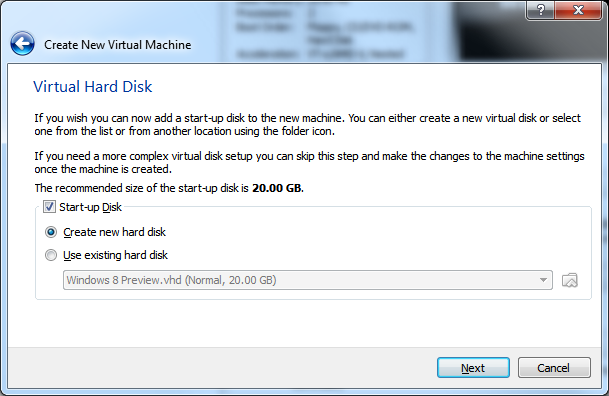 Create New Virtual Machine - Step 4 (Virtual Hard Disk)