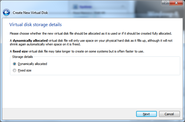 Create New Virtual Machine - Step 4.2 (Virtual Hard Disk - Storage Details)