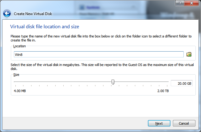 Create New Virtual Machine - Step 4.3 (Virtual Hard Disk - Location and Size)