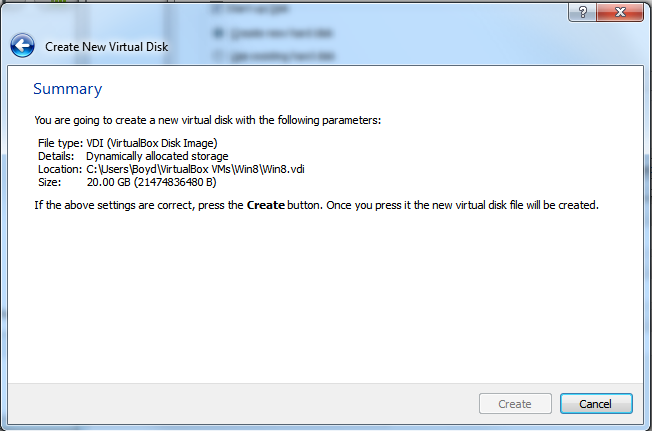 Create New Virtual Machine - Step 4.4 (Virtual Hard Disk - Summary)