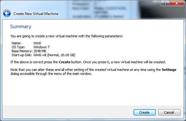 Create New Virtual Machine - Step 5 (Summary)
