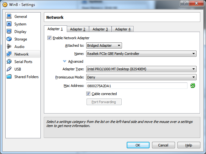 Update Network Settings