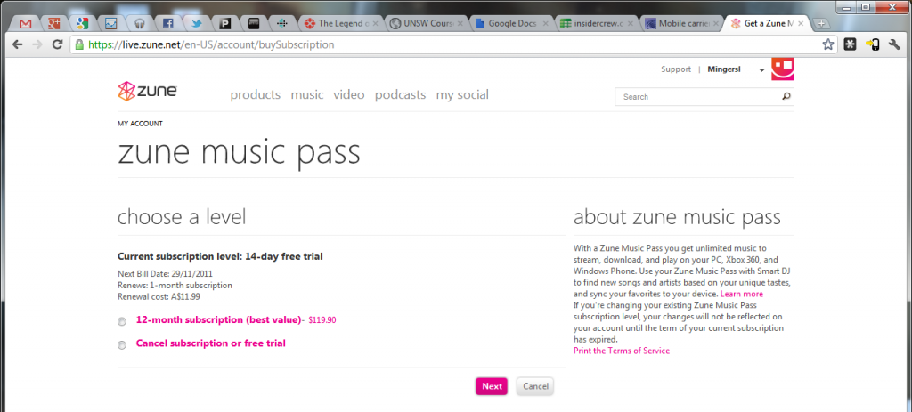 Activated Zune Music Pass in Australia