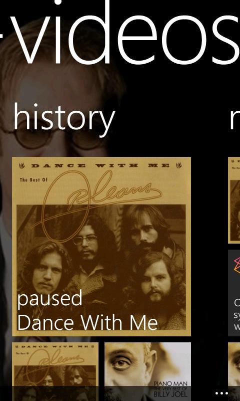 Music+Videos - History Screen