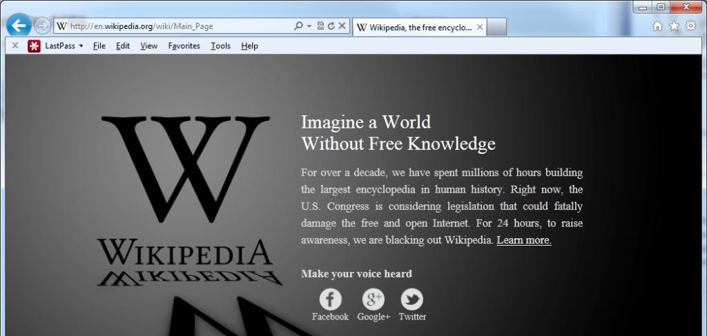 Wikipedia Goes Black