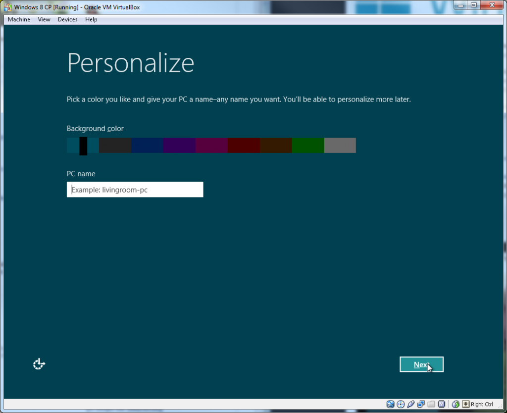 Windows Install - Step 01 (Personalise)