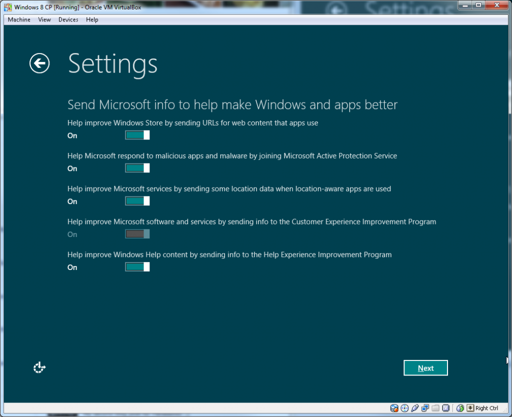Windows Install - Step 2.2 (Windows Experience Feedback)