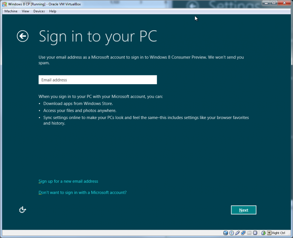 Windows Install - Step 3 (Sign in to your PC)