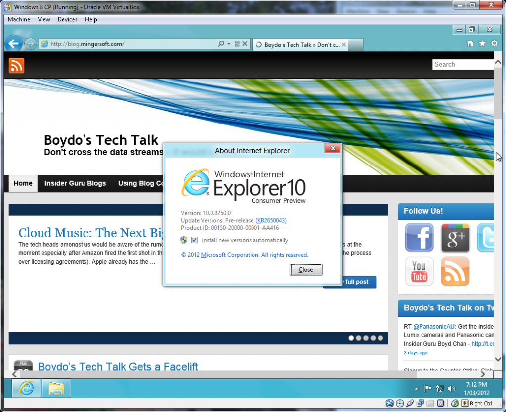 Internet Explorer 10 (Desktop Version)