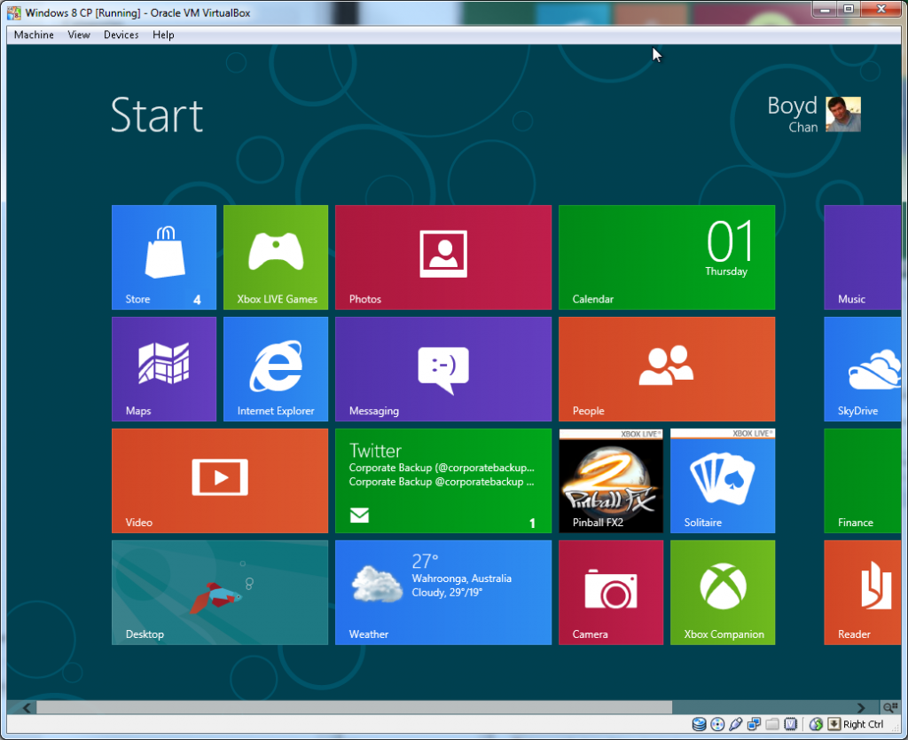 Windows Start Screen (Live Tiles)