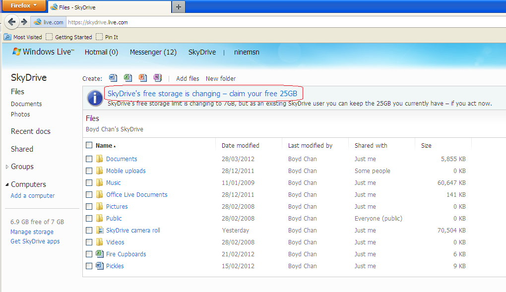SkyDrive - Main Screen