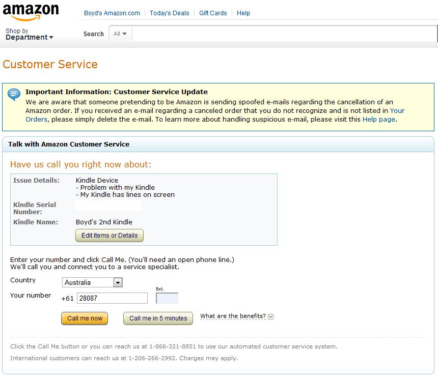 Amazon - Call Us