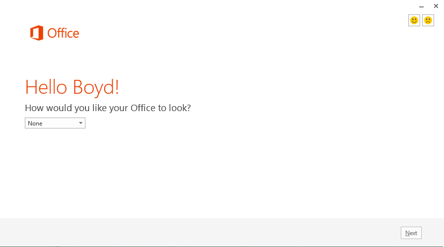 Office 2013 - Installation - Theme Selection