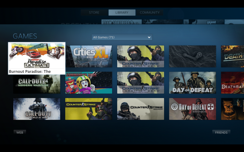 Steam - Big Picture Library View