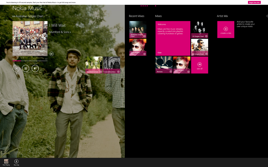 Nokia Music App on Windows 8