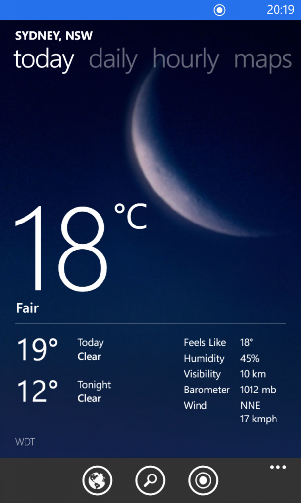 Bing Weather - Today page