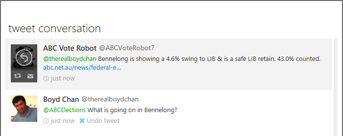 ABC Elections on Twitter - Bennelong Query