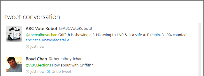 ABC Elections on Twitter - Griffith Query