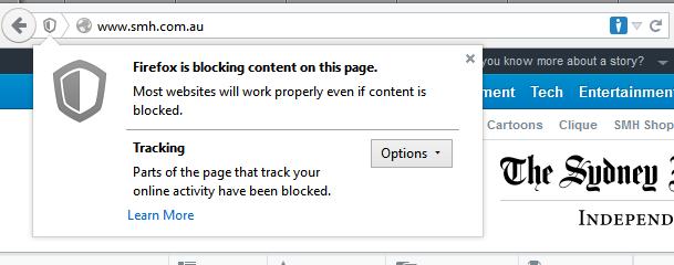 Mozilla Firefox - Tracking Protection Invoked
