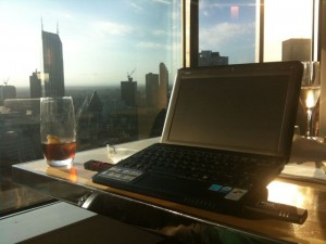 My view of the Melbourne CBD as I blog today