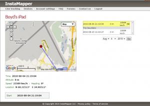Instamapper - Device Page