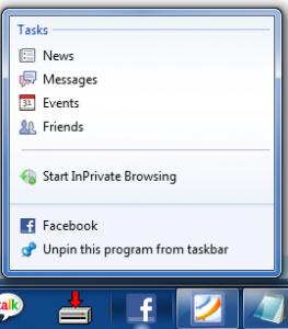 Internet Explorer 9 - Facebook Bookmark Jump List