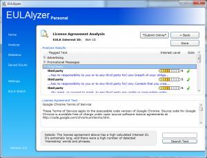 EULAlyzer License Agreement Analysis (Google Chrome)