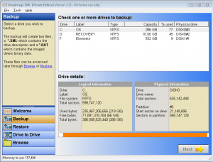 DriveImage XML - Backup Wizard