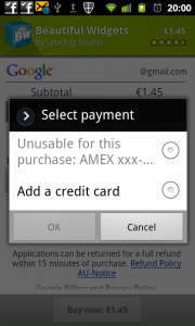 American Express unusable for this purchase