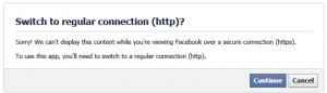 Facebook HTTP Fallback Message
