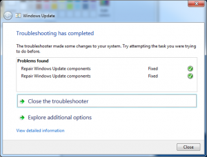 Completed Windows Update Troubleshooting in Windows 7