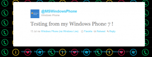 Test Tweet from the Official Windows Phone 7 Twitter Account